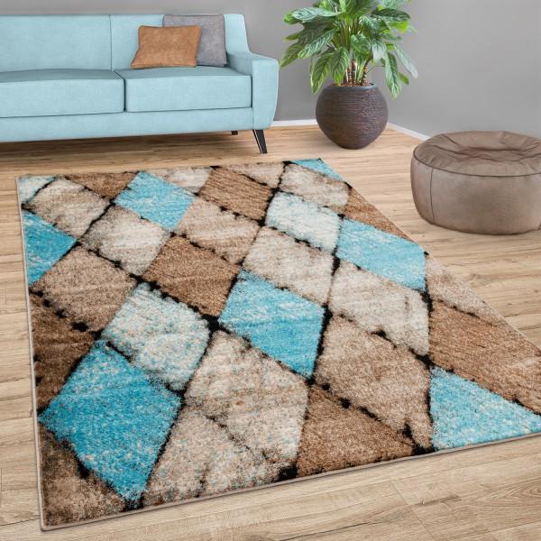 Rug Living Room Vintage Diamond Pattern Short-Pile