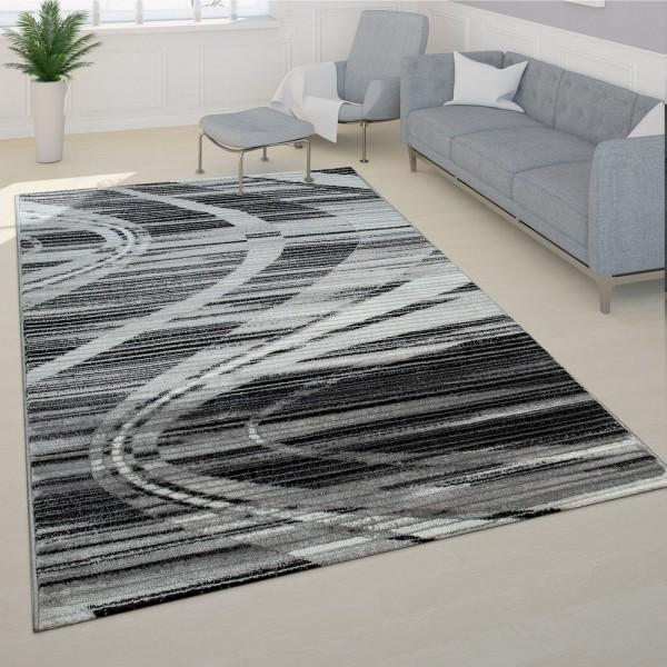 Edler Designer Teppich Geschwungene Linien Kurzflor Grau Creme Schwarz Meliert