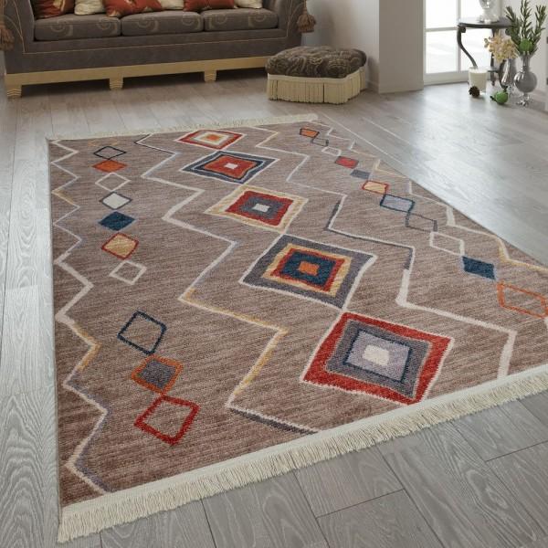 Wohnzimmer-Teppich Im Ethno-Design, Fransen, Boho-Stil, Rauten, Mehrfarbig Bunt