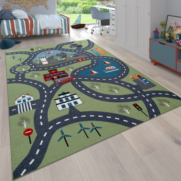 Play Rug Children's Room City Design Colourful