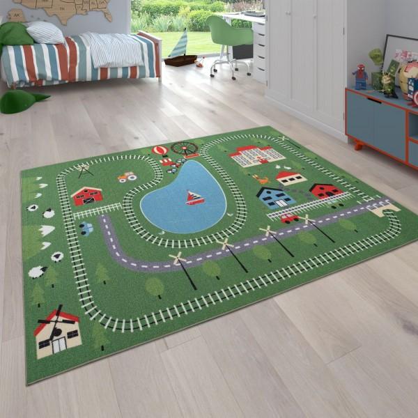 Kinder-Teppich, Spiel-Teppich Für Kinderzimmer Landschaft-Motiv Zug-Gleise, Bunt